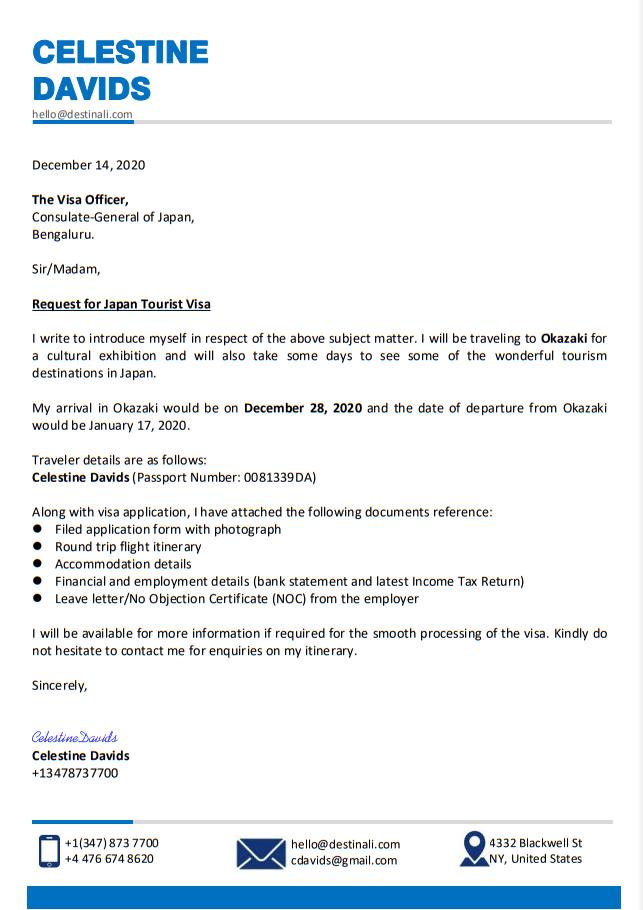 Letter Of Self Introduction For Visa